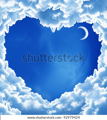 cloud heart and moon