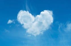 cloud  heart shape, blue sky