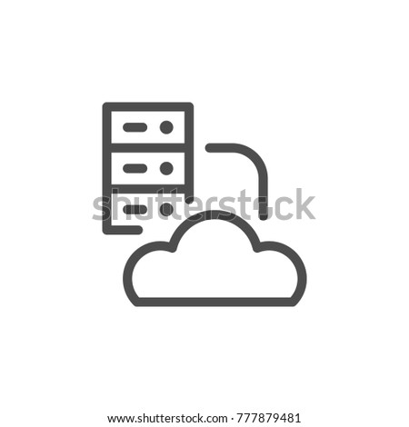 Cloud hosting line icon isolated on white