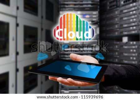 Cloud icon from touch pad in data center room