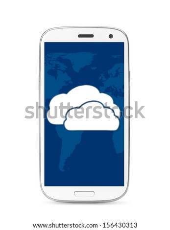 cloud icon on touch screen phone, cut out from white.