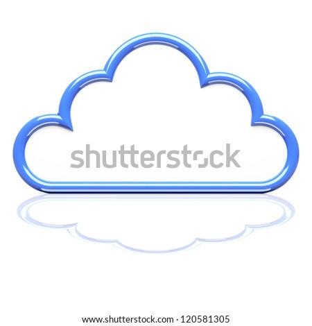 Cloud icon on white. 3d render illustration