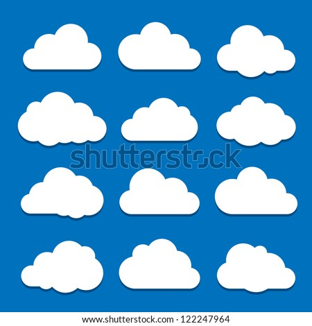 Cloud Icon Set. Raster version