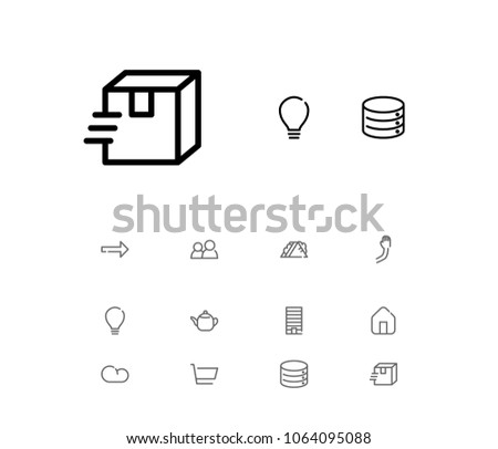 Cloud icon with tea, cart and house symbols. Set of tea, package, people group icons and next concept. Editable  elements for logo app UI design.