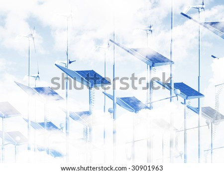 Cloud image overlaid on wind generators and solar panels - stock photo