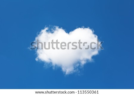 cloud in the form of heart on the background of blue sky