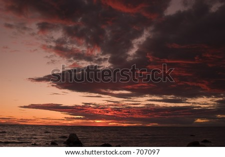 Cloud in the sunset over the Baltic sea