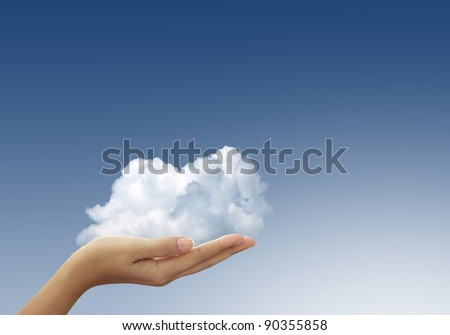 Cloud in woman hands on blue sky, the concept of natural care.