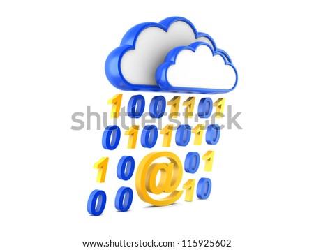 cloud Internet and information stream. 3d illustration