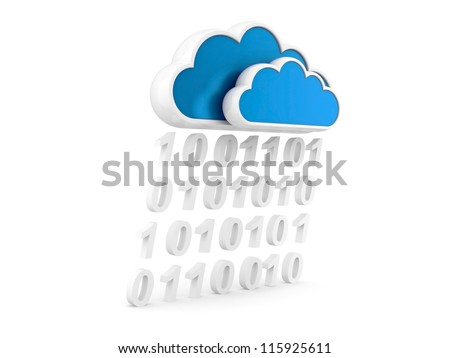 cloud Internet and information stream. 3d illustration