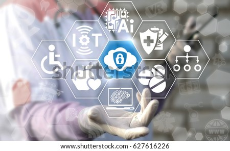 Cloud IT technology insurance in medicine. Health care IoT, AI, Computing security web concept. Doctor offers internet storage shield lock icon. Protection and safety Big Data center introduction.