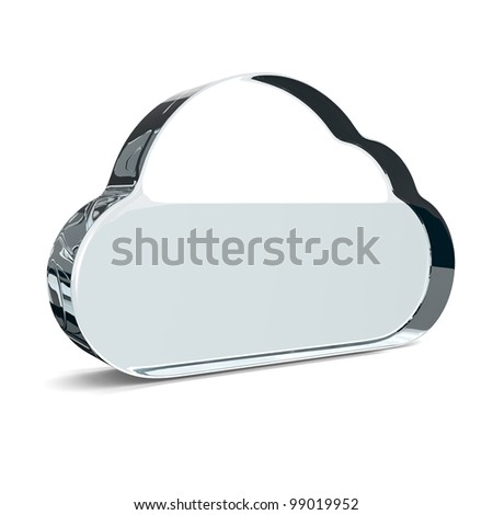 Cloud made of glass. 3D illustration isolated on white background