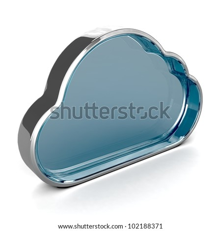 Cloud made of glass. 3D illustration isolated with shadow on white background