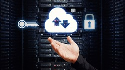 Cloud network sharing security social net and hand touch the button