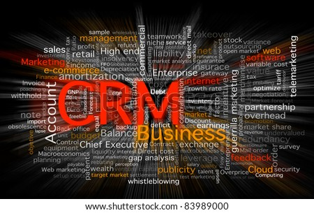 Cloud of business words centered in the CRM software concept. Background in black with a zoom blur over the words.