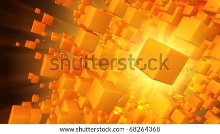 Cloud of cubic particles