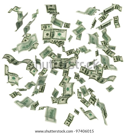 Cloud of hundred dollar notes flying on white background