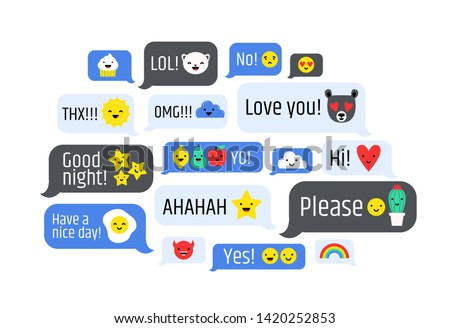Cloud of messages with cute emoji. Speech bubbles with text and smileys. Ideograms or funny symbols to express different emotions in electronic chatting or messaging. Colorful illustration.