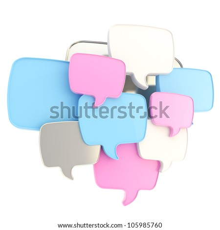 Cloud of text bubbles, blue and pink, grouped as copyspace empty plate glossy banner background isolated on white
