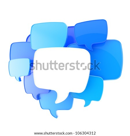 Cloud of text bubbles, blue and white, grouped as copyspace empty plate glossy banner background isolated on white