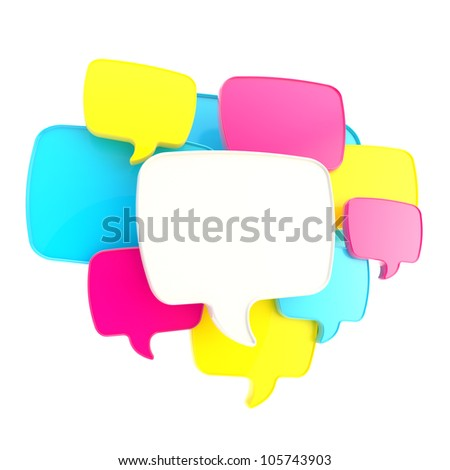 Cloud of text bubbles, cmyk colored, grouped as copyspace empty plate glossy banner background isolated on white