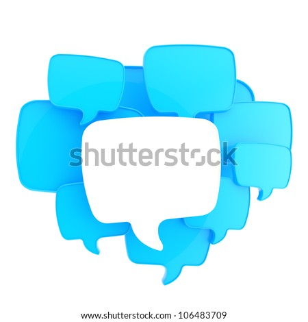 Cloud of text bubbles, white and blue, grouped as copyspace empty plate glossy banner background isolated