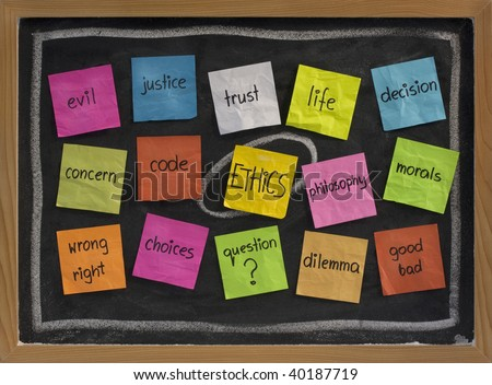 cloud of words related to ethics, color sticky notes on blackboard