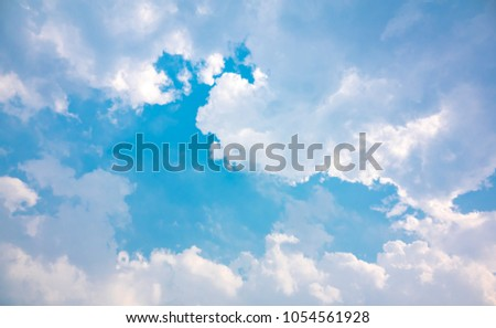 Cloud on sky blue or azure sky is beauty. Cloud is aerosol comprising visible mass of liquid droplets frozen crystals in air. Everything lies above surface Earth atmosphere and outer space is sky