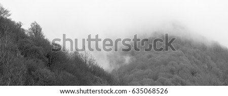 Cloud on the mountainside - black and white #635068526