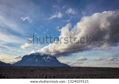 Cloud over the Herdubreid tuya (flat-topped steep-sided volcano) mountain in Ódáðahraun lava field, Highlands of Iceland Northeast Iceland, Scandinavia