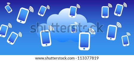 Cloud Phone Background - Phone mobile communicating with the cloud concept - Raster Version