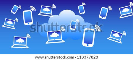 Cloud Phone Computing Background - Phone computers communicating with the cloud concept - Raster Version