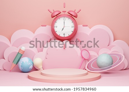 cloud scene display podium cute pink pastel stand children education school pencil backdrop bulb world earth magnifying glass stars saturn astronomy planet time alarm clock subjects. 3D Illustration.