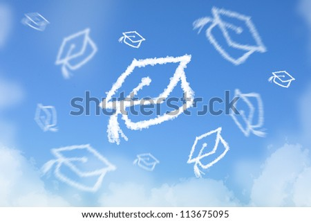 Cloud shaped as graduated hat threw in sky , dreaming concept