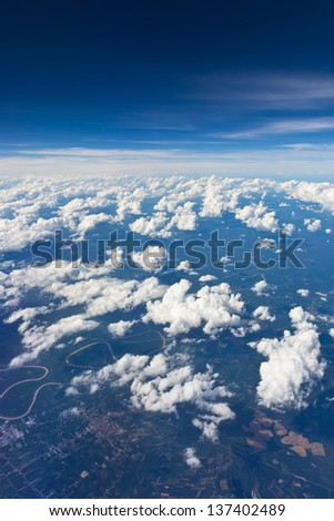 Cloud sky view from airplane