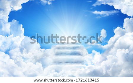 Cloud stairway to Heaven. Stairs in sky. Concept Religion background Photo stock ©