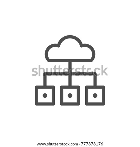 Cloud storage line icon isolated on white