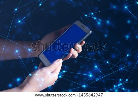 cloud storage, mobile application, telecommunication, business and finance, people hand touch on smartphone, social network, ai deep learning #1455642947