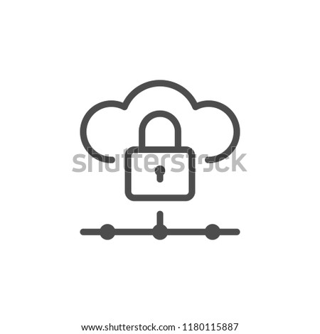 Cloud storage security line icon isolated on white