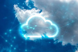 cloud storage with networking internet digital technology, ai data system connecting to link global information, security of social, web net of online business, server global
