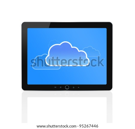 Cloud symbol at digital tablet isolated on white background