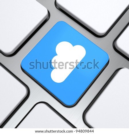 cloud symbol on a button keyboard, 3d render