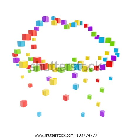 Cloud technology computing icon made of colorful glossy cubes isolated on white