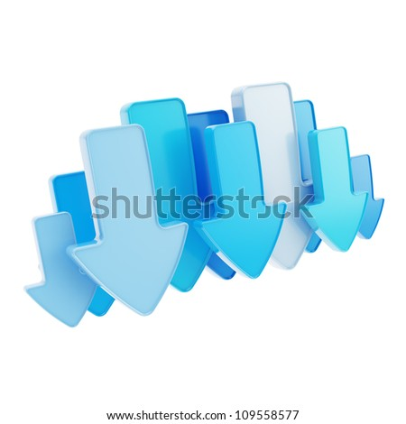 Cloud technology emblem icon tag made of blue glossy arrows isolated on white