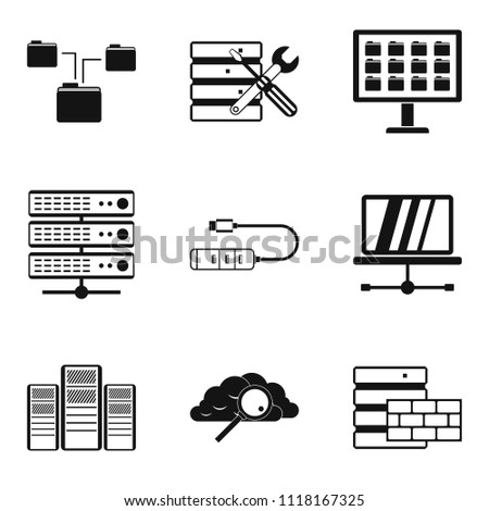 Cloud technology icons set. Simple set of 9 cloud technology icons for web isolated on white background