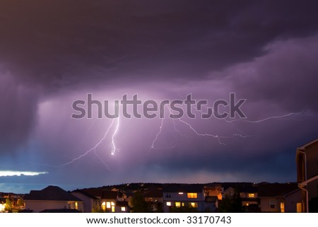 Cloud to Cloud Lightning - stock photo