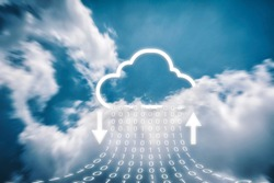 Cloud transferring data storage, on online  server technology and cloud icons that are currently downloading and uploading, High speed data with numeric values.data storage technology concepts.