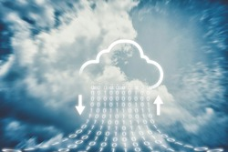 Cloud transferring data storage, On online  server Technology and Cloud icons that are currently Downloading and Uploading, High speed data with On the sky background  Concepts.