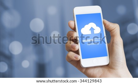 Cloud upload from mobile phone to store data on server