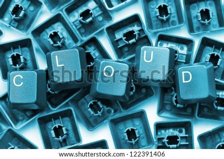Cloud word formed by keyboard keys, cloud computing concept